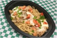Chicken Alfredo - Grilled chicken & pasta with cheesy cream sauce, grilled peppers and diced tomato