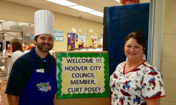 Curt Posey, Hoover City (AL) Councilman, visited Bluff Park Elementary during NSLW to serve lunch.