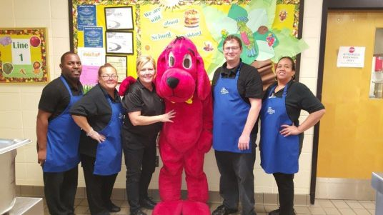 Clifford the Big Red Dog paid a visit to the cafeteria during NSLW in Georgia's Fulton County Schools.