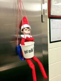This elf at Jefferson Elementary School in Winona Lake (IN) reminds students to drink their milk.