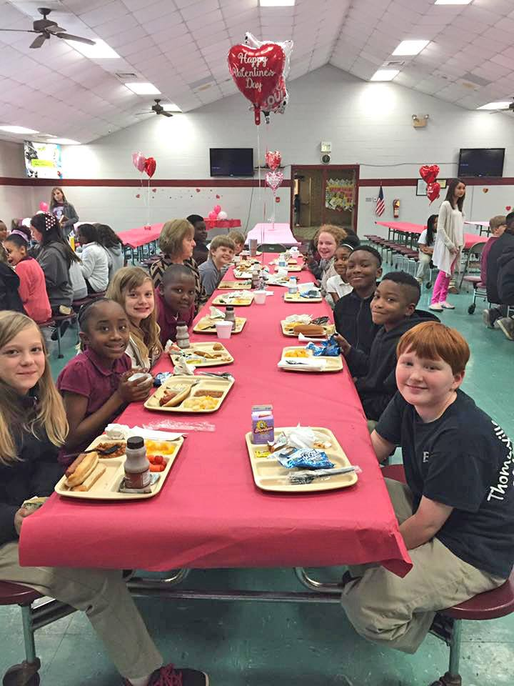 Valentine's Day decorations filled the cafeterias in Bladen County Schools (NC).