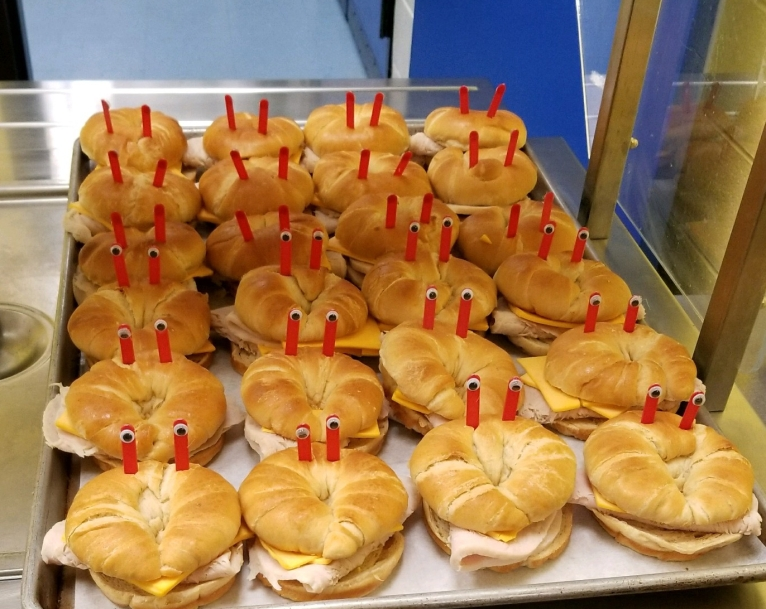 Croissants turned into small crabs for the Blizzard Beach Party.