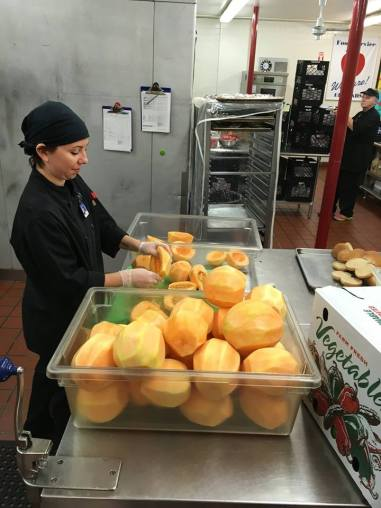 Cantaloupes from nearby Norris Berry Farm, VT, being used in school breakfast options.