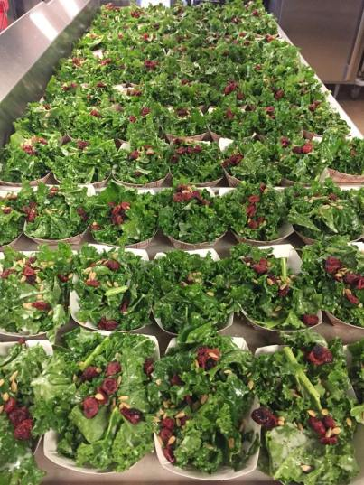 A simple kale salad lined up for students at Wayne County Schools (NY) to try.