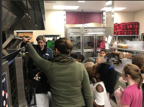 Students in MSD of Wayne Township (IN) tour their school kitchen with dietetic interns.