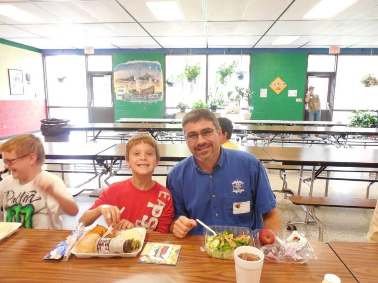 This father/son duo celebrated lunch together at Mount Olive Elementary School (NC)