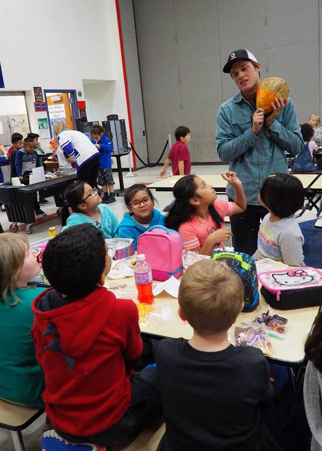 Sam Bowhay, Farmer, Ralph's Greenhouse spoke with students about the vegetables he brought for lunch!