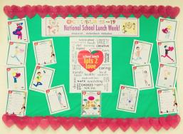"School City of Hammond (IN) decorated bulletin boards with NSLW ""Lots 2 Love' artwork from students."