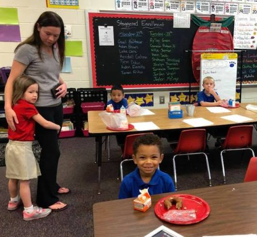 Whiteville Primary School (NC) students enjoying Breakfast in the Classroom.