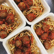 Homemade spaghetti sauce, 100% ground beef meatballs and whole grain noodles.