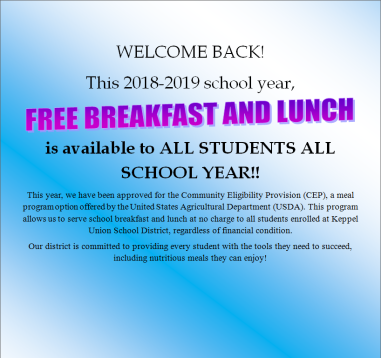 English and Spanish translations explaining to parents that the district is offering free breakfast and lunch to all students because of the Community Eligibility Provision (CEP).