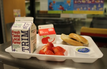Vernon Public Schools (CT) incorporates breakfast favorites, like apple juice, strawberries, milk and bagel/cream cheese for a great start to the day.