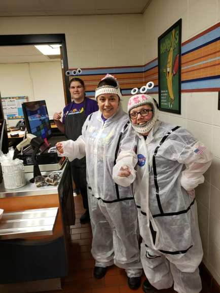 School nutrition staff at School City of Hammond (IN) made their own crochet helmets and space suits for NSBW