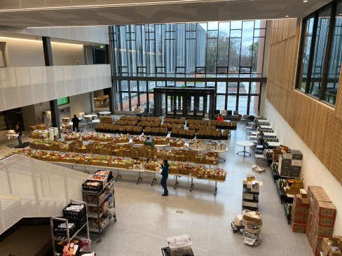 Billerica Public Schools (MA) filled an entire cafeteria with school meals, organizing for curbside pickup.